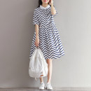 Dress Summer 2021 Picture color M,L,XL,2XL Mid length dress singleton  Short sleeve commute stand collar middle-waisted Abstract pattern Single breasted A-line skirt routine 18-24 years old literature printing 51% (inclusive) - 70% (inclusive) other cotton