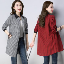 shirt Black, red M,L,XL,2XL Spring 2020 hemp 51% (inclusive) - 70% (inclusive) Long sleeves commute Medium length Polo collar Single row multi button routine lattice Straight cylinder Korean version pocket