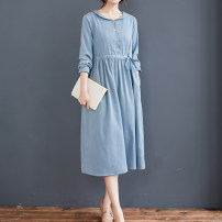 Dress Autumn 2020 Blue, caramel M,L,XL,2XL Mid length dress singleton  Long sleeves commute Doll Collar Solid color Single breasted A-line skirt literature Pocket, tie, strap, button cotton