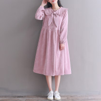 Dress Spring 2021 Skin pink M,L,XL,2XL Mid length dress singleton  Long sleeves commute Doll Collar Loose waist Solid color Socket Big swing Pile sleeve Type A literature Bow, button corduroy