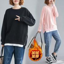 Sweater / sweater Winter of 2019 Black plush, Pink Plush M,L,XL,2XL,3XL,4XL Long sleeves Medium length Socket singleton  Plush Crew neck easy commute Solid color 51% (inclusive) - 70% (inclusive) Korean version cotton Stitching, thread, zipper cotton