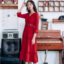 Dress Autumn 2020 gules S,M,L,XL Mid length dress singleton  three quarter sleeve commute V-neck High waist Solid color zipper Ruffle Skirt other Type A Other / other Flounce, Gouhua, hollow, splicing, bandage, lace cotton