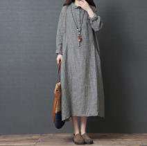 Dress Spring 2020 Big, small M,L,XL,2XL longuette singleton  Long sleeves commute square neck Loose waist lattice Korean version 51% (inclusive) - 70% (inclusive) cotton