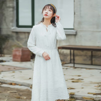 Dress Autumn 2020 white S,M,L,XL Mid length dress singleton  Long sleeves Pile collar Solid color Socket A-line skirt bow other nylon