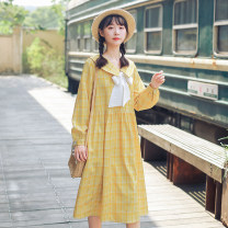 Dress Autumn 2020 Green, yellow S,M,L,XL Mid length dress singleton  Long sleeves commute square neck Loose waist lattice Socket Big swing bishop sleeve Type A literature bow 51% (inclusive) - 70% (inclusive) cotton