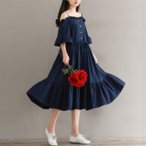 Dress Summer 2021 Picture color M,L,XL,2XL Mid length dress singleton  Sleeveless commute One word collar Loose waist Solid color Single breasted A-line skirt Lotus leaf sleeve camisole Type A literature Button 51% (inclusive) - 70% (inclusive)