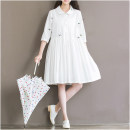 Dress Autumn 2016 White object shooting M,L,XL,2XL Mid length dress singleton  elbow sleeve commute Doll Collar middle-waisted Solid color Three buttons Big swing routine 18-24 years old Type A literature Embroidery, lace up, stitching More than 95% cotton