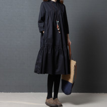 Dress Spring 2020 Black, red M [95-120 kg], l [120-135 kg], XL [135-150 Jin], 2XL [150-170 Jin] Mid length dress singleton  Long sleeves commute stand collar Loose waist Solid color Socket other routine Others Type A literature Pockets, stitching 51% (inclusive) - 70% (inclusive) cotton