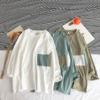 T-shirt White, army green, light blue M,L,XL,2XL Summer of 2019 three quarter sleeve Crew neck Straight cylinder Regular routine street cotton 71% (inclusive) - 85% (inclusive) 18-24 years old youth Color matching Other / other Color matching pocket neutral