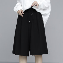 Casual pants Black, light grey S,M,L Summer 2021 Pant Straight pants High waist Versatile routine 96% and above Cellulose acetate Bandage polyester fiber