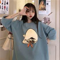 T-shirt Black, lotus, blue M,L,XL,2XL Spring 2021 Long sleeves Crew neck easy Regular routine commute cotton 31% (inclusive) - 50% (inclusive) 18-24 years old Simplicity originality Cartoon animation 2021—1 printing