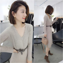 Dress Autumn 2020 Graph color S,M,L Mid length dress singleton  Long sleeves commute V-neck High waist Solid color other other other Others 30-34 years old Type H Fanlis Korean version thread F193t06596p 71% (inclusive) - 80% (inclusive) other