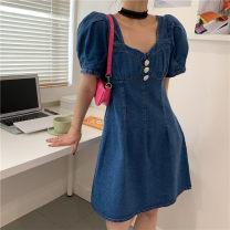 Dress Summer 2021 Graph color S,M,L Short skirt singleton  Short sleeve High waist 18-24 years old Type A 51% (inclusive) - 70% (inclusive) Denim