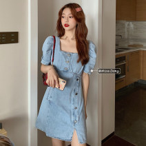 Dress Spring 2021 Graph color S, M Short skirt singleton  Short sleeve commute square neck High waist Solid color Socket A-line skirt routine Others 18-24 years old Type A Other / other Korean version 51% (inclusive) - 70% (inclusive) cotton