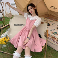 Dress Summer 2021 Peach pink dress, black dress, white shirt S. M, average size Mid length dress Two piece set commute Polo collar High waist Solid color Socket A-line skirt straps 18-24 years old Type A Other / other Korean version 51% (inclusive) - 70% (inclusive) other