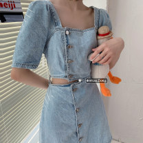 Dress Summer 2021 Picture color S,M,L Mid length dress singleton  Short sleeve commute square neck High waist Solid color Single breasted A-line skirt routine Others 18-24 years old Type A Other / other Korean version Hollowing out 31% (inclusive) - 50% (inclusive) cotton