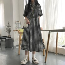Dress Summer 2021 Star button dress, round button dress Average size Mid length dress singleton  Short sleeve commute Polo collar High waist lattice Socket A-line skirt shirt sleeve Others 18-24 years old Type A Other / other Korean version Button 81% (inclusive) - 90% (inclusive) other