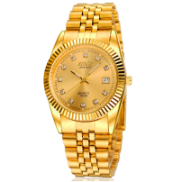 Wristwatch Paosiney Shop warranty quartz movement  male stainless steel domestic 3ATM stainless steel Mineral reinforced glass mirror 10mm 38mm golden circular fashion Pointer type brand new Double side press button ordinary Bracelet China Calendar luminous week display