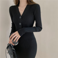 Dress Winter 2020 Black, apricot white S,M,L,XL Mid length dress singleton  Long sleeves commute V-neck middle-waisted Three buttons One pace skirt routine Others 18-24 years old Type H Retro 31% (inclusive) - 50% (inclusive) knitting other