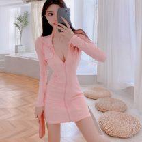 Dress Autumn 2020 Pink, black S,M,L Short skirt singleton  Long sleeves commute Hood zipper routine 18-24 years old Simplicity Splicing
