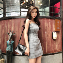 Dress Spring of 2019 Grey grid S,M,L High waist 18-24 years old Other / other