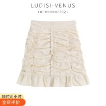 skirt Spring 2021 S,M,L,XL Apricot Short skirt commute High waist skirt Solid color Type A 18-24 years old 51% (inclusive) - 70% (inclusive) other Other / other cotton Ruffles, folds, zippers Korean version