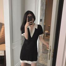 Dress Summer 2021 Black dress, random gift S,M,L,XL Short skirt singleton  Short sleeve commute V-neck High waist Socket A-line skirt routine Others 18-24 years old Type A Korean version bow 31% (inclusive) - 50% (inclusive) other