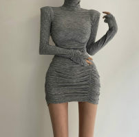 Dress Winter 2020 Grey, black, brown, army green Average size Short skirt singleton  Long sleeves commute High collar High waist Solid color Socket One pace skirt routine Others Type H Korean version Splicing cotton