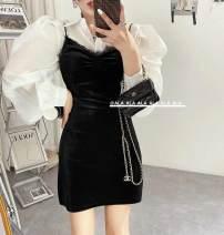 Dress Spring 2021 White shirt, black skirt S, M Short skirt singleton  Sleeveless commute V-neck High waist Solid color zipper routine camisole Type H Korean version Splicing