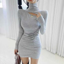 Dress Winter 2020 Grey, black, brown Average size Short skirt singleton  Long sleeves commute High collar High waist Solid color Socket One pace skirt routine Korean version Splicing other cotton
