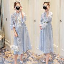 Dress Other / other wathet M,L,XL,XXL Korean version three quarter sleeve Medium length spring stand collar stripe Cotton and hemp