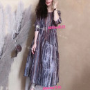 Dress Summer 2021 Apricot, stripe Average size Mid length dress singleton  elbow sleeve commute Crew neck Loose waist Decor Socket A-line skirt other Others Type A Retro Pleated, stitched, printed, stitched and versatile dress for women More than 95% other hemp