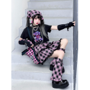 Fashion suit Summer 2020 M. L, foot cover (pair) Short T-shirt, pink plaid skirt, red plaid skirt, models with the same accessories, please buy at the second store, buy a full set of free: scarf (one size) Other / other 91% (inclusive) - 95% (inclusive) cotton