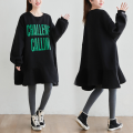 Dress Winter 2020 Black, black, black purple, black yellow One size fits all (recommended 160-280 kg) longuette singleton  Long sleeves Sweet Crew neck Loose waist letter Socket other routine Others Type A printing 71% (inclusive) - 80% (inclusive) brocade cotton college