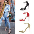 Sandals 33,34,35,36,37,38,39 Suede Other / other Barefoot Fine heel Super high heel (over 8cm) Spring 2021 Flat buckle Solid color Adhesive shoes Youth (18-40 years old) rubber daily Bag heel Thin band combination Low Gang Hollow PU Microfiber skin Flat buckle