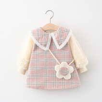 Dress female Other / other 80cm suggests 0-1 years old, 90cm suggests 1-2 years old, 100cm suggests 2-3 years old, 110cm suggests 3-4 years old Other 100% spring and autumn princess Long sleeves lattice cotton Splicing style