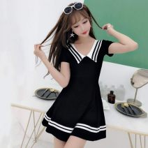 Dress Summer of 2019 White, black, red, new black, new white, new green, new pink S,M,L,XL Short skirt singleton  Short sleeve Sweet Admiral High waist Solid color Socket Princess Dress routine Others Type A cotton college