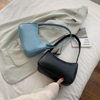 Bag The single shoulder bag PU baguette  brand new Japan and South Korea Small leisure time soft zipper no Solid color Single root One shoulder hand nothing youth Horizontal square Sewing Soft handle synthetic leather soft surface