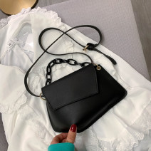 Bag The single shoulder bag PU Small square bag brand new Japan and South Korea Small leisure time soft Cover type no Solid color Single root One shoulder cross carry nothing youth Horizontal square Sewing Soft handle synthetic leather soft surface