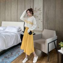 Fashion suit Autumn 2020 S,M,L,XL Off white top + yellow skirt