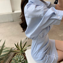 Dress Summer 2020 White quality version, black quality version, blue quality version S,M,L Short skirt singleton  Short sleeve commute Polo collar High waist Solid color zipper Irregular skirt raglan sleeve Others 18-24 years old Type X Korean version Pleating 51% (inclusive) - 70% (inclusive)