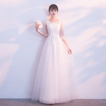 Dress / evening wear Annual meeting performance of wedding and adult party company XXLXXXLSMLXL Korean version longuette middle-waisted Winter 2017 Fall to the ground U-neck Bandage 18-25 years old wfyLFA153 three quarter sleeve flower Solid color Wen Fengyan routine Polyester 80% other 20% other