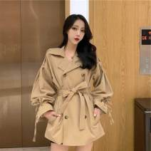 Windbreaker Spring 2020 Average size Khaki Long sleeves routine Medium length commute double-breasted Polo collar pagoda sleeve Solid color Straight cylinder Korean version Other / other 18-24 years old Button, lace up 96% and above polyester fiber polyester fiber