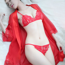 Fun suit Chisa / chisa Spandex nylon Red [T-shirt + bra + underpants] black [T-shirt + bra + underpants] white [T-shirt + bra + underpants] pink [T-shirt + bra + underpants] Jacket fun suit Dew opening crotch style Queen's dress Lace Fun 3-piece set