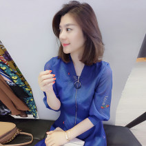 Dress Spring 2021 blue S,M,L Short skirt singleton  elbow sleeve street V-neck Socket Others B182k04516p More than 95% polyester fiber Europe and America
