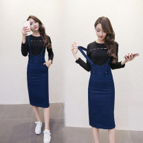 Dress Spring of 2018 Single skirt, two-piece [Long Sleeve Top], two-piece [short sleeve top] S,M,L,XL Mid length dress Two piece set Sweet Crew neck High waist Solid color Socket Princess Dress other straps 18-24 years old Type H three point two one college