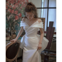 Wedding dress Summer 2021 white S. M, l, XL, XXL, customized, no return, contact customer service grace Fish tail Bandage Hotel Interior One shoulder satin Three dimensional cutting DD250 18-25 years old