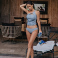 Split swimsuit blue M,L,XL Triangle swimsuit With chest pad without steel support female