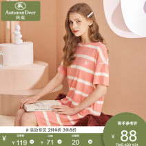 Nightdress Autumn deer Peach 109 rubber powder 82 M L XL XXL Simplicity Short sleeve Leisure home summer other youth Crew neck cotton printing More than 95% Knitted cotton fabric QHDL219D Summer 2021 Cotton 100% Same model in shopping mall (sold online and offline)