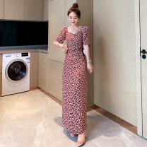 Dress Summer 2020 Watermelon red, cherry S,M,L,XL,2XL longuette singleton  Short sleeve commute V-neck Loose waist Decor Socket routine 18-24 years old Other / other Korean version